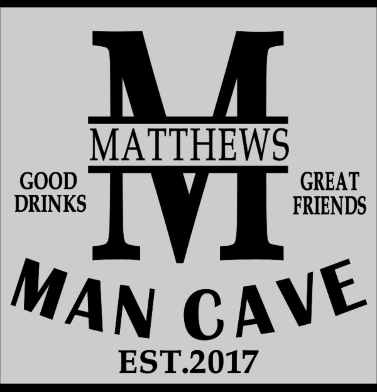 Man Cave with Name 12x12